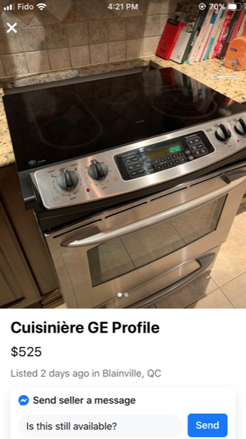 cuisiniere de seconde main