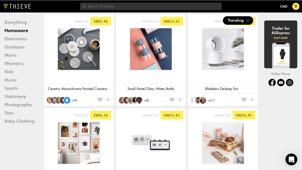 site web Thieve avec des objets pour décorer
