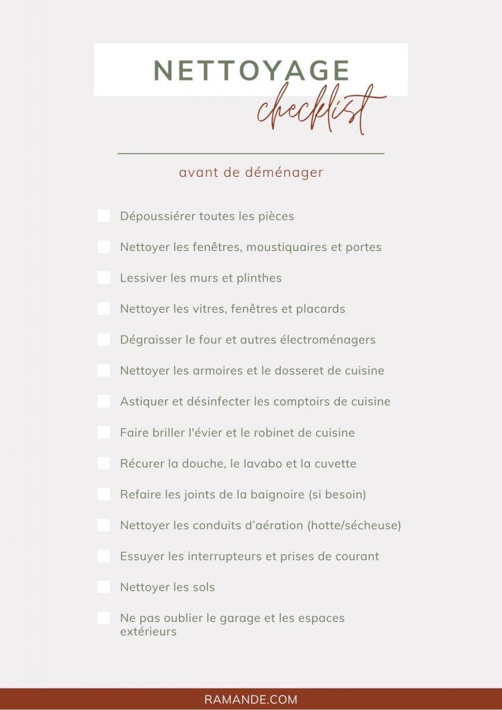 checklist pour le nettoyage avant de demenager